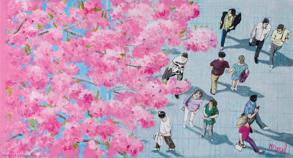 Merel-work-2018-I-love-the-view-of-cherry-blossom-130x70cm
