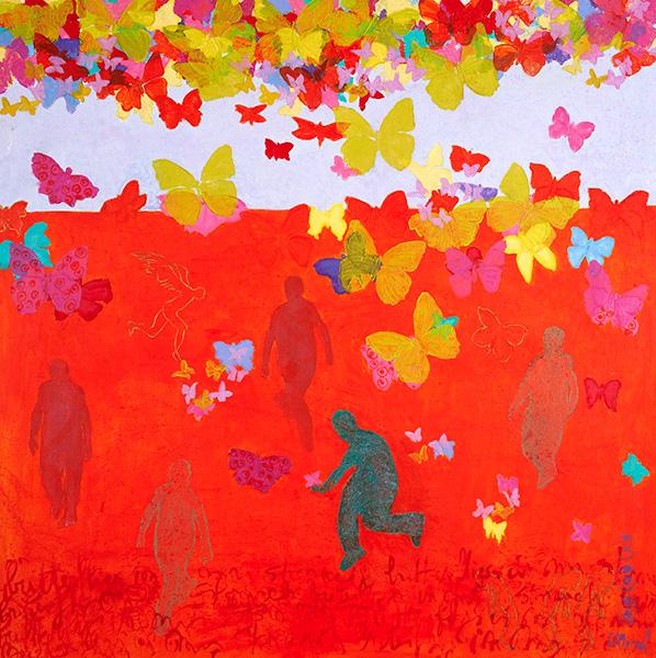 Merel-work-2012-Butterflies-in-my-stomach-140x140cm